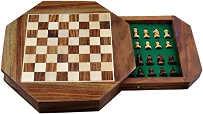 Avs Stores ® Wood Magnetic Travel Chess, Chessmen Set and Wooden Board Traveling Games (Octane 9 inch)