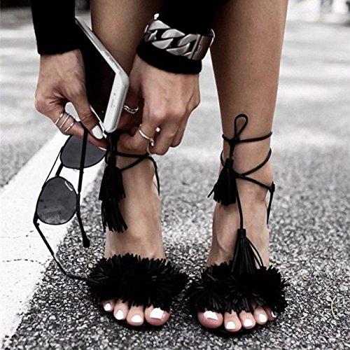 GS~LY Bocca di pesce selvaggi delle donne sandali in camoscio con frange Black