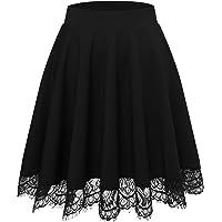 Bbonlinedress Rock Röcke Skirt Damen Mädchen Basic Solide Vielseitige Dehnbar Mini Rock A-Linie Rockabilly