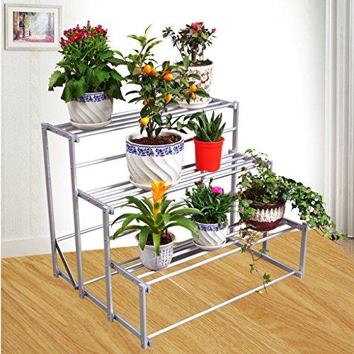 Aluminium-tier-stand (MILUCE 3 Tier Aluminium Falten Blumenrahmen Multifunktions Regal Schlafzimmer Wohnzimmer Creative Storage Rack)