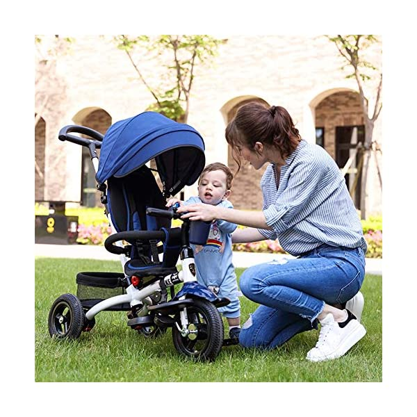 GSDZSY - 4 IN 1 Children Tricycle, 120 ° Adjustable Seat, Baby Can Sit Or Recline, Seat Is Comfortable And Easy To Use,1-6 Years Old GSDZSY ❀ Material: High carbon steel + ABS + rubber wheel, suitable for children from 1 to 6 years old, maximum load 30 kg ❀ Features: The seat can be rotated 360; the backrest can be adjusted, the baby can sit or lie flat, adjustable push rods and parasols, suitable for different weather conditions ❀ Performance: high carbon steel frame, strong and strong bearing capacity; rubber wheel suitable for all kinds of road conditions, good shock absorption, seat with breathable fabric, baby ride more comfortable 2