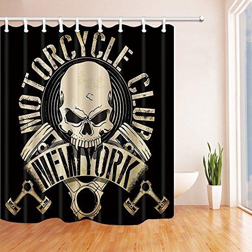 Schädel Dekor New York Motorrad Club Dusche Vorhänge Polyester Stoff Wasserdicht Bad Vorhang 70,8X70,8 in Duschvorhang Haken - Um Motorrad-club Eisen, Den