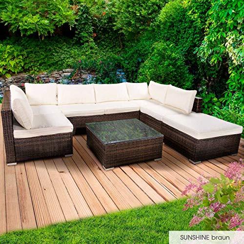 BRAST Poly-Rattan Gartenmöbel Lounge Set 14 Modelle 3 Farben 4-12 Personen Sitzgruppe Sunshine Braun -
