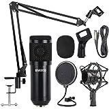 Professional Metal Studio Condenser Microphone Kit BM800 with Pop Filter - Scissor Arm Stand - Shock Mount for Studio Recordi