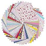 RayLineDo® 50 Stück 20 cm x 20 cm Bedruckte Baumwoll-Stoffbündel Quadrate Patchwork DIY Nähen Scrapbooking Quilting Muster Kunst