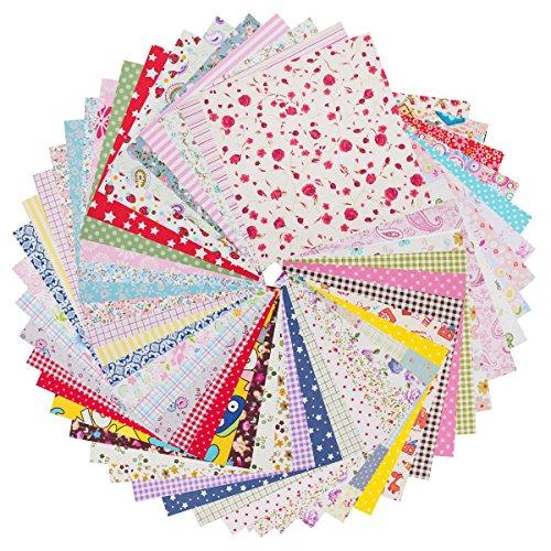 raylinedo® 5020,3x 20,3cm (20cmx20cm) bedruckt Baumwolle Stoff Bundle Squares Patchwork DIY Nähen Scrapbooking Quilten Muster Artcraft (Twill-stoff Baumwolle 100%)
