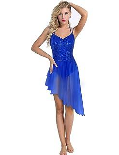 iixpin Femme Robe de Danse Classique Robe de Ballet Latine Jazz Rumba Zumba Salsa Samba Tango Justaucorps de Danse Robe Longue sans Manches