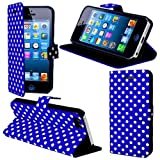 HR Wireless Polka Dots Carrying Case with Magnetic Flap for iPhone 5/5S - Retail Packaging - Blue