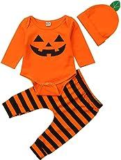 Säuglings-Baby-Kleinkind-Jungen-Mädchen-Langer Hülsen-Kürbis-Spielanzug-Hut mit Gestreifter Pant Halloween-Kostüm