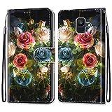 Nadoli Bunt Leder Hülle für Samsung Galaxy A8 2018,Cool Lustig Tier Blumen Schmetterling Entwurf Magnetverschluss Lanyard Flip Cover Brieftasche Schutzhülle mit Kartenfächern -