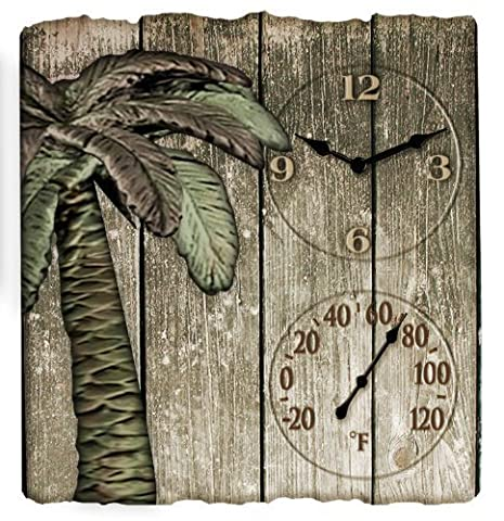 Springfield Polyresin Clock and Thermometer, Palm Tree by Taylor Precision Products