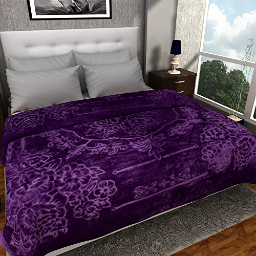 Blue Heaven Exports Ultra Silky Soft Heavy Duty Quality Indian Mink Premium Double Bed Purple Blanket  available at amazon for Rs.987