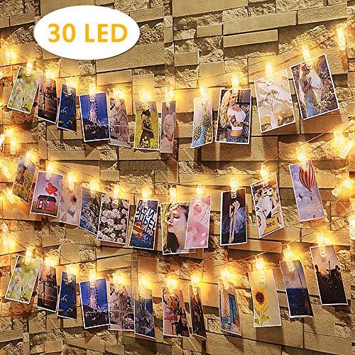 30 Led Fotoclips Lichterkette,Nasharia LED Foto Lichterkette 3,2 Meter 30 led Lichterketten Batteriebetriebene Warmweiß Stimmungsbeleuchtung Dekoration für Hängende Bilder,Foto & Weihnachten,Party,Halloween Deko