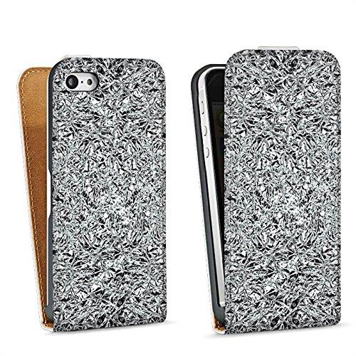 Apple iPhone 5 Housse Étui Silicone Coque Protection Paillettes Argent Brillance Sac Downflip blanc