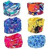 ZeWoo 6 Pack Copricapo Multifunzione Fascia Bandana Sciarpa di riciclaggio della bici del collo maschera di protezione colorate, Multiuso Fascia Bandana Scaldacollo Foulard, Sports Buff scaldacollo, F (Set 1)