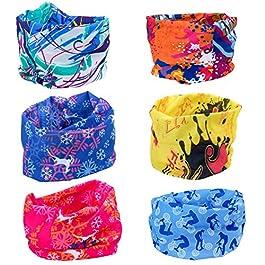 ZeWoo 6 Pack Copricapo Multifunzione Fascia Bandana Sciarpa di Riciclaggio della Bici del Collo Maschera di Protezione Colorate