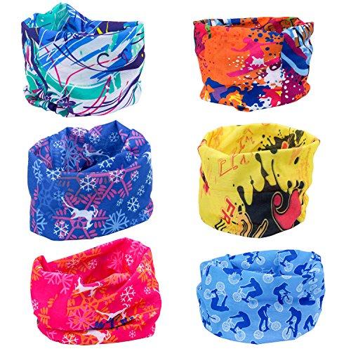 ZeWoo 6 Stück / Packung gedruckt Bandanas Multifunktionstuch Rohr Kopfbedeckungen Bandana Schal Elastische Halstücher für Yoga, Wandern, Reiten, Motorradfahren (Set 1) (Reiten Kinder Motorrad)