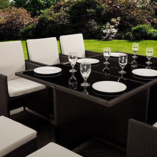 11 Piece / 10 Seater | PE Rattan Cube Table, Chair, Stool Set | Garden Furniture (no parasol, Brown)