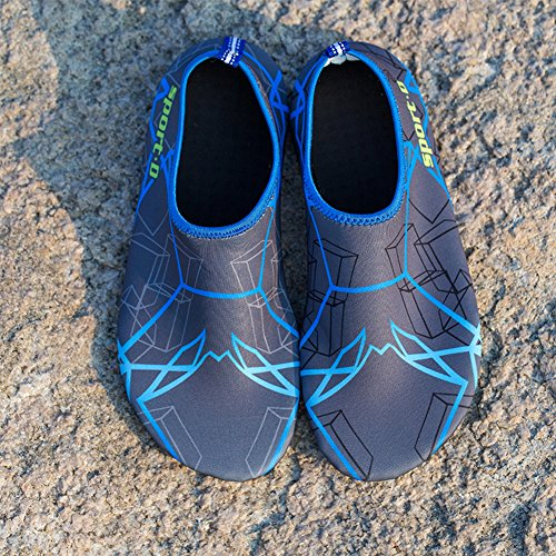 Unisex Strandschuhe Aquaschuhe Breathable Schlüpfen Schnell Trocknend Schwimmschuhe Surfschuhe für Damen Herren Kinder Baby Grau
