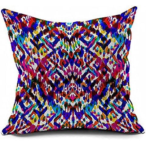 jinrou lässige Mode de Tie Dye Corto Peluche de estilo europeo retro style tronco de multicolores geométrico Patrones, cojín 45x