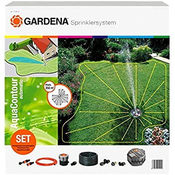 Gardena Kit Arroseur Escamotable Aquacontour Automatic Système d'Arrosage pour Formes de Jardin Individuelles Jusqu'à 350 M², 50 Points de Contours Programmables (2708-20)