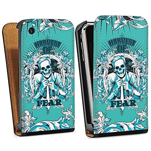 Apple iPhone 4 Housse Étui Silicone Coque Protection Mort Faucheur Fear peur Sac Downflip noir