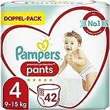 Pampers Premium Protection Pants Taille 4, 42 couches de 9 à 15 kg, confort et protection avec les culottes Pampers pour un e