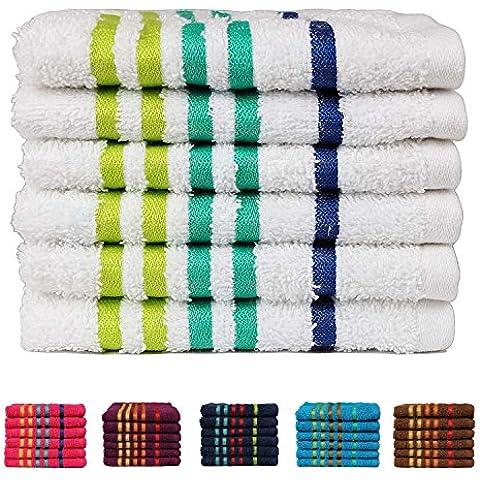 Casa Copenhagen Exotic Collezione - Set di 6 asciugamani viso in cotone, qualità 475 g/m², Colore: Bianco