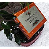Christmas Wooden Dark Memorial Stake Spike Grave/Tree Marker Cremation Holly Wreath Alternative