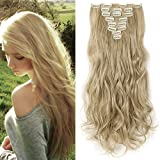 Clip in Extensions wie Echthaar Mittelblond/Hell-Lichtblond Haarteile 8 Tresssen günstig komplette Haarverlängerung Gewellt 17
