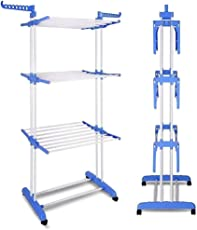 ADA Heavy Duty Stainless Steel Double Pole Foldable Cloth Dryer | Clothes Drying Stand -Blue