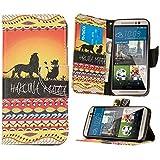 HTC One M9 Hülle Klapphülle von NICA, Slim Flip-Case Kunst-Leder Vegan, Phone Etui Schutzhülle Book-Case, Dünne Vorne Hinten Handy-Tasche Wallet Bumper für HTC One M9 - Lion King Edition