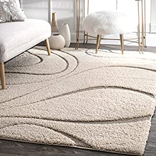 nuLOOM Modern Curves Soft Plush Shaggy Solid Area Rug, Cream| 182 x 121 cm