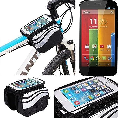 For Motorola Moto G: Cycling Frame Bag, Head Tube Bag, Front Top Tube Frame Pannier Double Bag Pouch Holder Crossbar Bag, black-silver water resistant -