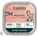 Franklin - Pâtées sans Céréales – Chat Adulte – 67% de Viande et Poisson - Appétence & Hydratation - Poulet, Saumon, Canneber