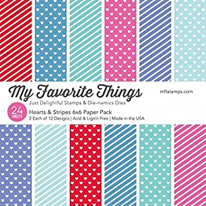 "My Favorite Things Hearts & Stripes 6""x6"" Paper Pack"