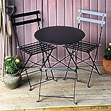 Alessia Bistro Set - SCHWARZ | Faltbarer Metalltisch mit passenden Stühlen