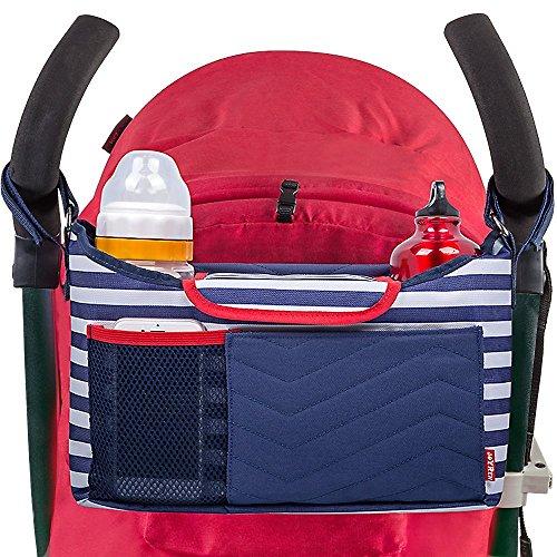 Lmeison Baby Jogger Kinderwagen Organizer Tasche mit Schulterriemen,Buggy Kinderwagentaschen für Tasse/Flasche,Windeln, Spielzeug, Flasche und andere Baby Zubehör,37×21.5×3.5 CM