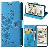 Touch Hülle, iPod Touch 5 Hülle, kazineer Leder Tasche Touch 6 Schutzhülle [Blume Muster] Etui für Apple iPod Touch 5G 6G Case (Türkis-blau)