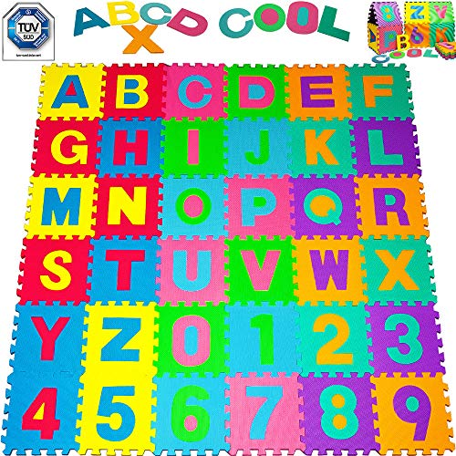 Puzzle tapis mousse bébé alphabet et chiffres 86 pièces...