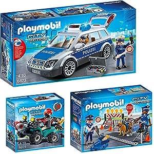 PLAYMOBIL® City Action Set en 3 parties 6873 6878 6879 Voiture de Police + Barrage + Bandit-Quad