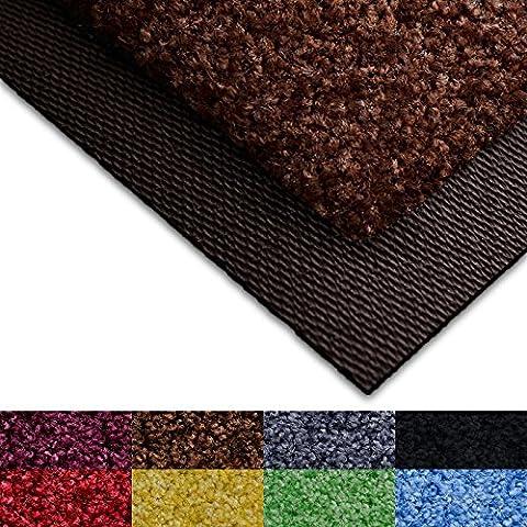 casa pura® Dirt Trapper Door Mat with Matching Rubber Edge - Brown, 50 x 85cm - Non-slip - Multiple Colours