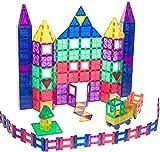 Playmags - Conjunto deluxe de 150 piezas de construcción y 2 coches, baldosas magnéticas (156)