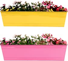 Trust basket Metal Rectangular Railing Planter (Yellow and Magenta, 23 Inch) - Set of 2