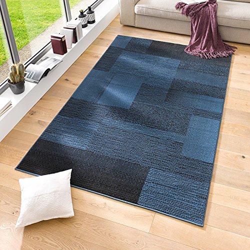 Velours Design Teppich 'Marble' | Kurzflor grau, Taupe, braun, Cacao, Farbe:Blau, Größe:160x230 cm