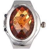NICERIO Hombres Mujeres Reloj de Dedo Reloj de Cuarzo Anillo de Dedo Oval Pétalo Flip Dedo Anillo Reloj Moda Reloj Analógico