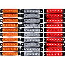 24/7Auto 30L0051 Luces Trasero para Camión Remolque 24 V LED Rojo/Blanco/ámbar, 30 Piezas