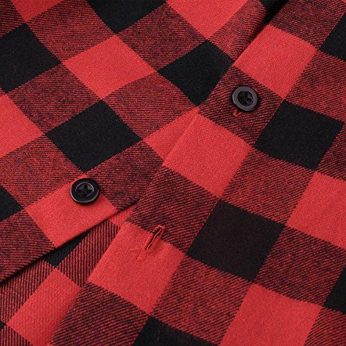 Hasuit Herren Hemd Reine Baumwolle Plaid Slim Fit Freizeit Mode in Europäischen Größen Rot