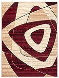 Tapiso Dream Teppich Kurzflor Beige Creme Rot Meliert Modern Abstrakt Geometrisch Muster Designer Wohnzimmer Schlafzimmer ÖKOTEX 120 x 170 cm