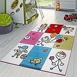T&T Design Teppich Modern Kinderteppich Kariert Fröhliche Kinder in Creme Blau Grün Pink, Größe:160x220 cm